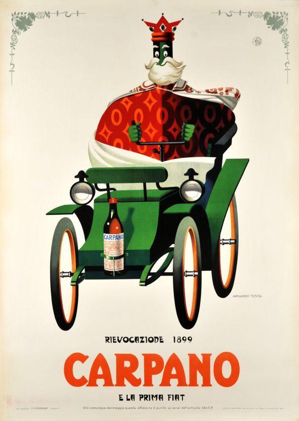 Carpano e la prima Fiat, rievocazione 1899 - Vintage Posters - Galerie 123 - The place to find vintage art