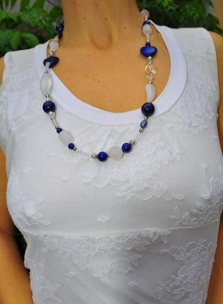 Lapis lazuli necklace, pearls, rock crystal di Oxidex su Etsy