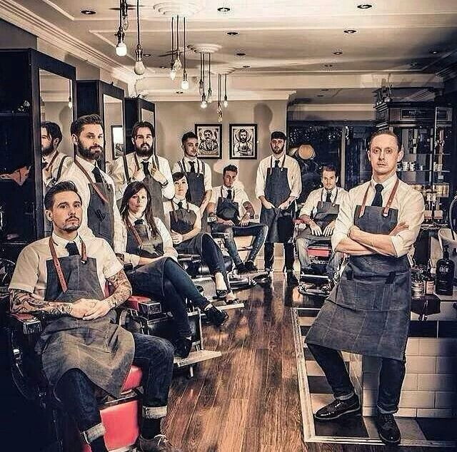 The smartest looking barber shop ever. Denim, tattoo's & beards