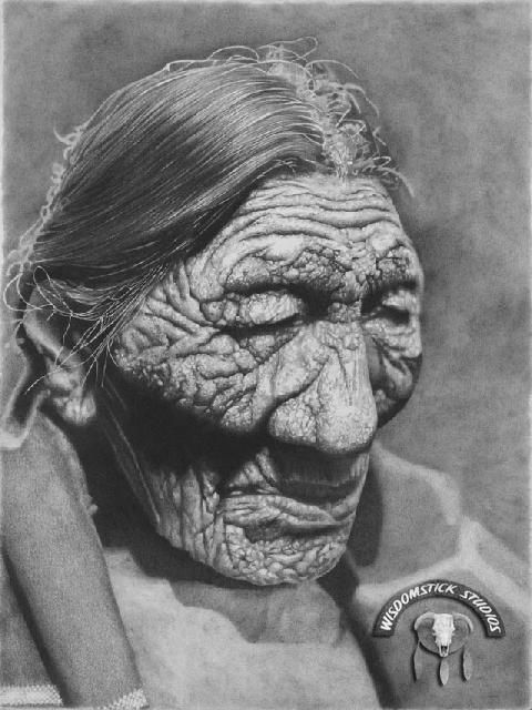 BLACK BELLY An old Cheyenne woman who was originally photographed by Edward Curtis in 1905 as she is depicted here. Story lines in her face reveal an incredible life of history.- She had a long journey but just imagine the stories she could have told.