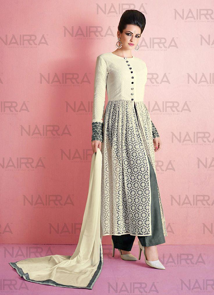 Achkan Style Incredible Salwar Kameez in White & Net Fabric