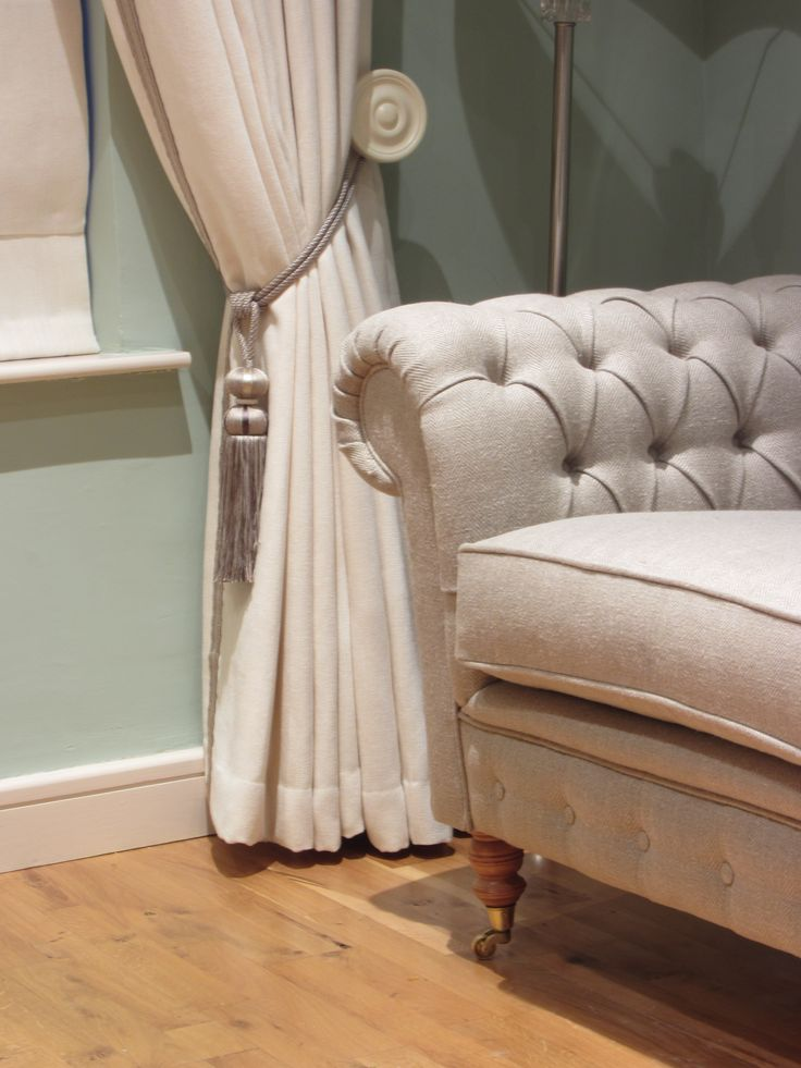 Chesterfield Sofa in Ulster Herringbone 100% Irish Linen with Luxury Linen/Cotton Curtains