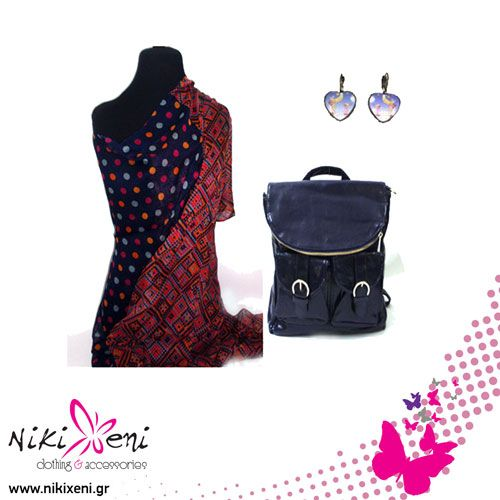 Polka dot scarf, many pockets backpack and hand-painted earrings._fashion woman accessories.