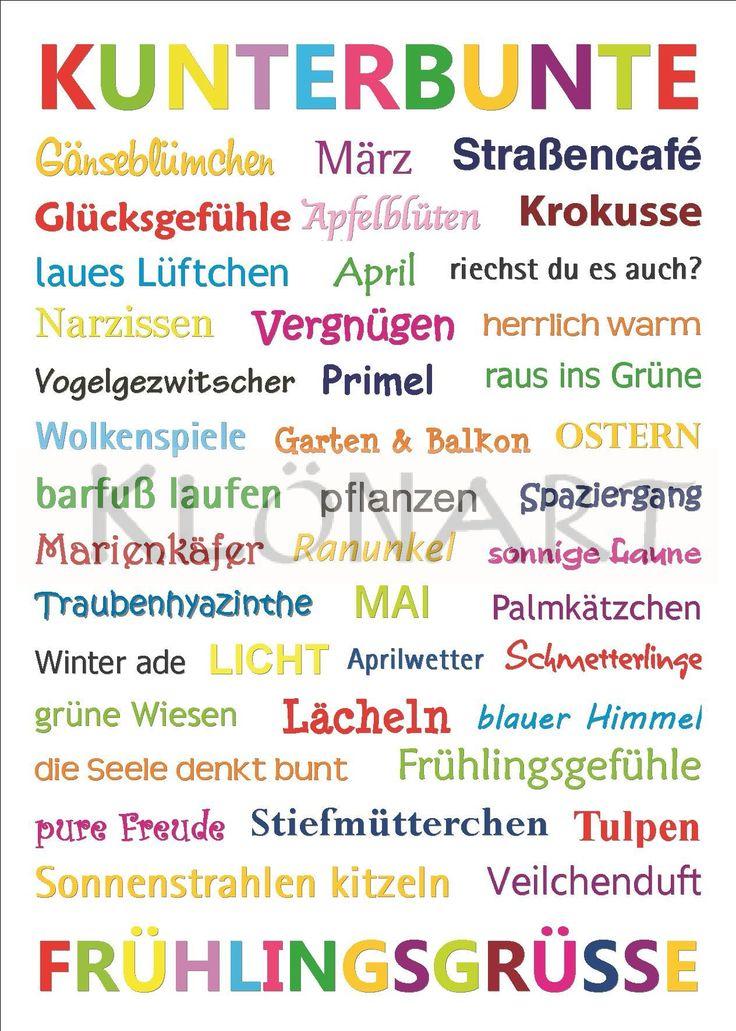 KLÖNART - Kartenkunst und mehr Postkarte  Buchstaben + Worte KUNTERBUNTE FRÜHLINGSGRÜSSE kontakt@kloenart.de www.facebook.com/kloenart