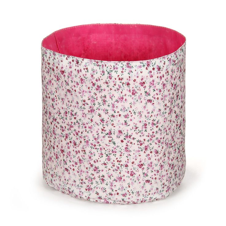 Panier De Rangement Tissu 29x29 : Petit panier en tissu liberty pour enfant rose maringa