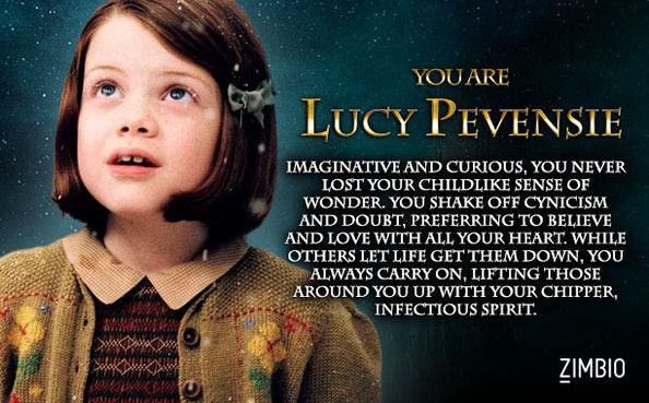 I took Zimbio's 'Chronicles of Narnia' quiz, and I'm Lucy Pevensie! Who are you? >>> Originally my result was Susan, but I took the quiz again and got Lucy!