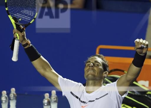 Spain's Rafael Nadal celebrates after defeating Croatia's Marini Cilic during a semifinal match of the Mexican Tennis Open in Acapulco, Mexico, Friday March 3, 2017. Nadal routed Cilic 6-1, 6-2, to advance to the Mexican Open final.(AP Photo/Enric Marti)