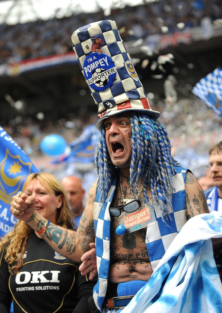 Portsmouth super-fan John 'Portsmouth Football Club' Westwood (aka 'the c**t with the bell') is visibly emotional prior to kick-off in the 2...