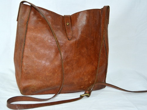 Vintage Signature Ll Bean Leather Distressed Tote Handbag Purse Satchel L Ebay