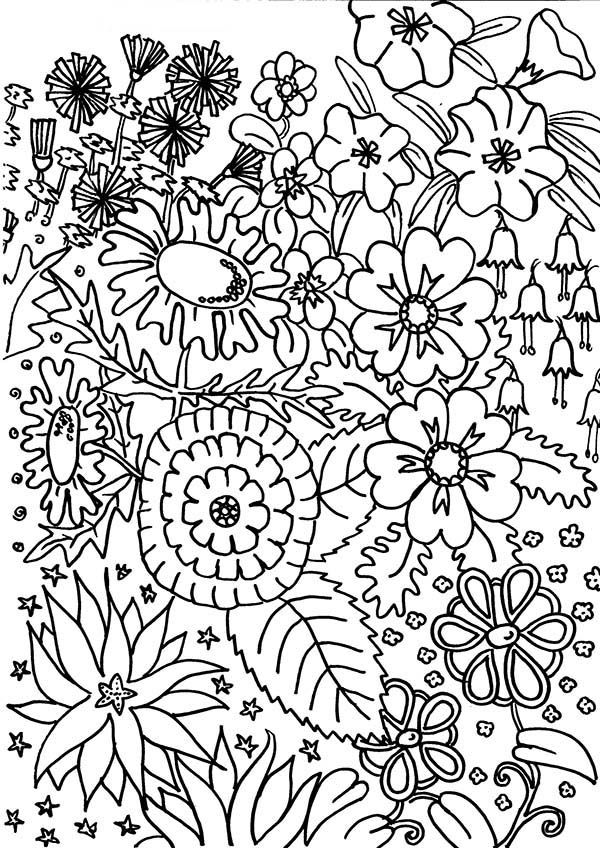 coloring page flower garden coloring pages coloring page and