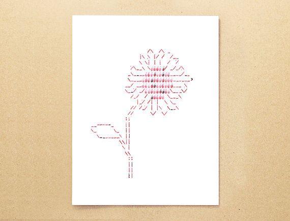 Typewriter art ASCII card - Sunflower greeting card