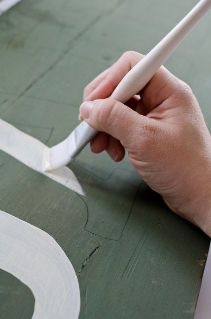 """Making an """"Antique"""" Sign.  How to paint words."""