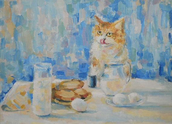 Original Impasto Oil Painting Curious Red cat by FrozenLife