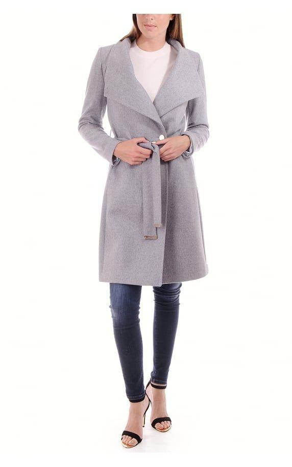 e448f9209d608a Ted Baker Womens Aurore Long Wrap Collar Coat Grey