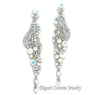 """LONG Silver Aurora AB Crystal 4"""" Bridal Elegant Prom ..."""