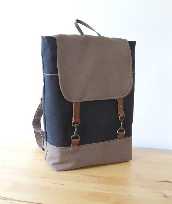 ChocoBrown and GrayNavy Canvas Backpack with antique by BagyBag, $89.70