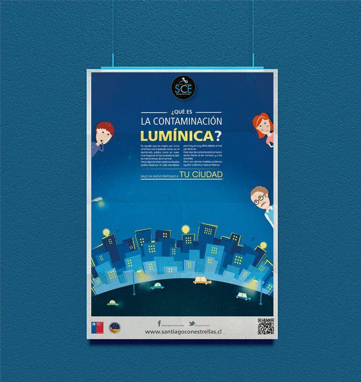 """Afiche informativo Campaña """"Santiago con estrellas"""" para niños."""