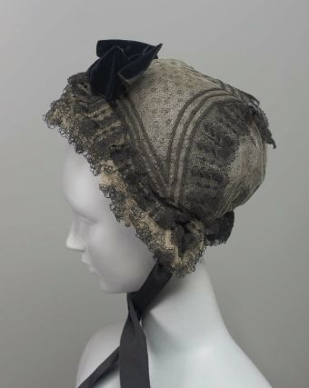1850-1875 American Cap at the Museum of Fine Arts, Boston - This cap was made by layering black, patterned and white net, thus creating varying shades of grey.