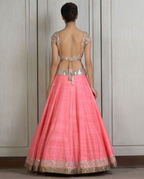 Pink Lengha Set with Mirror Work