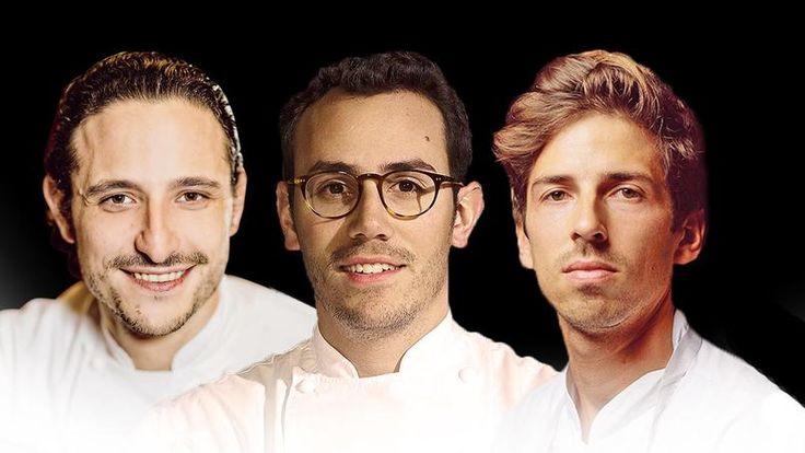 Pierre Meneau, César Troisgros et Hugo Roellinger (de gauche à droite), trois trentenaires pour assurer la relève de la haute cuisine française.