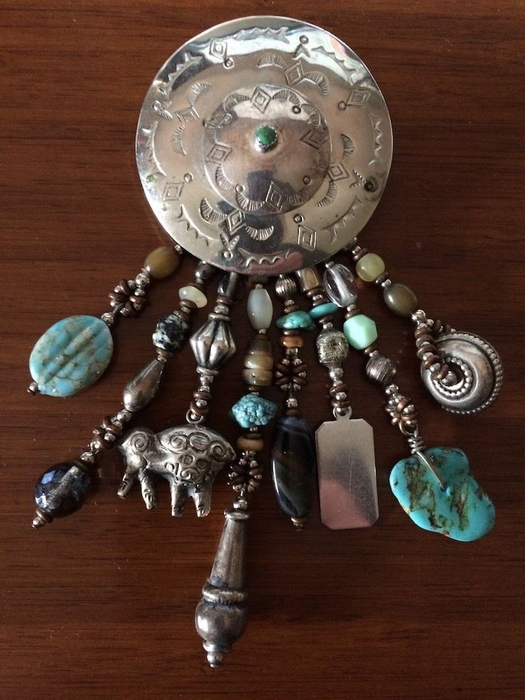 David Navarro Vintage Sterling Silver Turquoise Multi Charm Brooch Pin