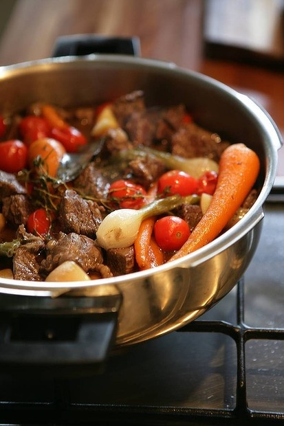 Rich beef casserole.  A pressure cooker recipe from Suzanne Gibbs. Photo by Marco Del Grande. Recipe: http://www.smh.com.au/lifestyle/cuisine/meat/recipe/rich-beef-casserole-20111018-1luzt.html?rand=1340599322660