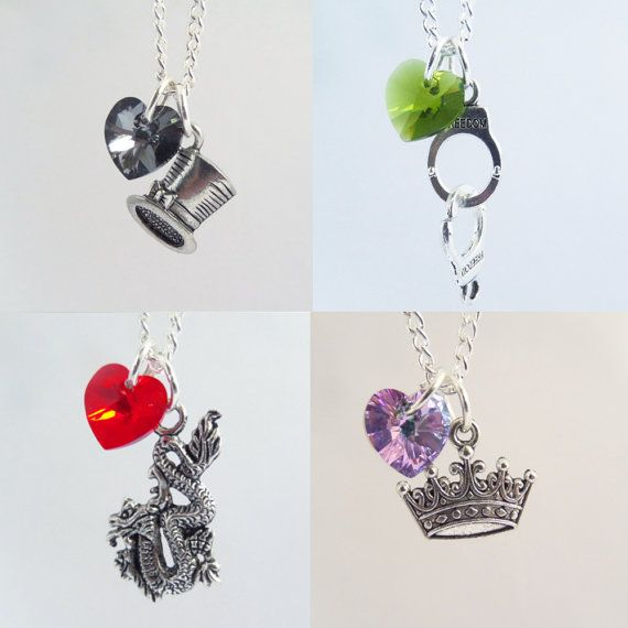 Original Once Upon A Time Character Necklaces.  Inspired by ABCs Once Upon A Time.    I can also make these into Key Rings or Bracelets instead