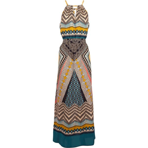 tribal scarf print maxi dress ($32) ❤ liked on Polyvore featuring dresses, maxi dresses, vestidos, women, day summer dresses, summer maxi dresses, silk dress, pattern dress and brown summer dresses
