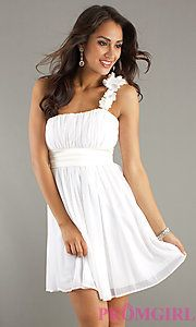 Buy Short One Shoulder Dress with Empire Waist at PromGirl