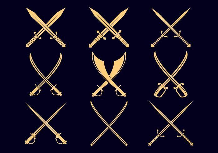 Cross Swords Icon Set Icon Set Sword Icon Set Vector