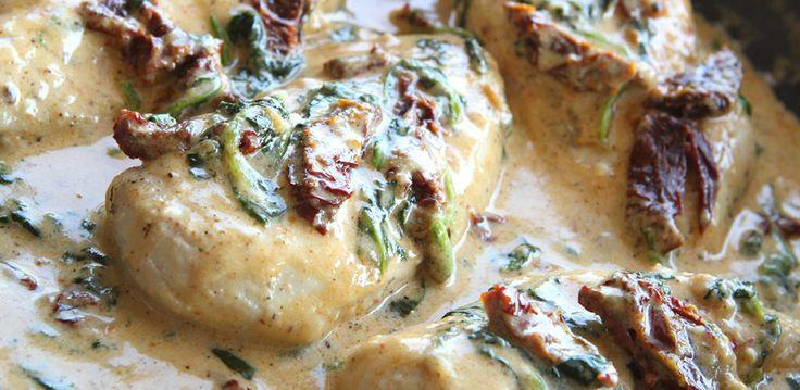 Creamy Tuscan Garlic Chicken.  GREAT.  Added fresh garlic to pan after sauteeint chicken.