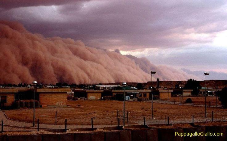 Tempesta di sabbia. Per tempesta di sabbia s'intende un fenomeno meteorologico comune nelle regioni aride e semi-aride. Le tempeste di sabbia nascono quando forti raffiche di vento soffiano e sollevano la sabbia da una superficie asciutta. Il Sahara e le terre aride attorno alla penisola araba sono le principali sorgenti terrestri di tempeste di sabbia, ma si formano anche in Iran, Pakistan e India e Cina.