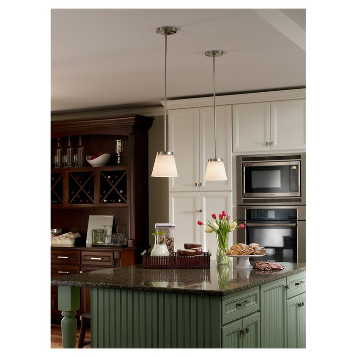 Soft Green With White Cabinets Provides A Nice Touch. #pendantlighting #kitchenideas #kitchen
