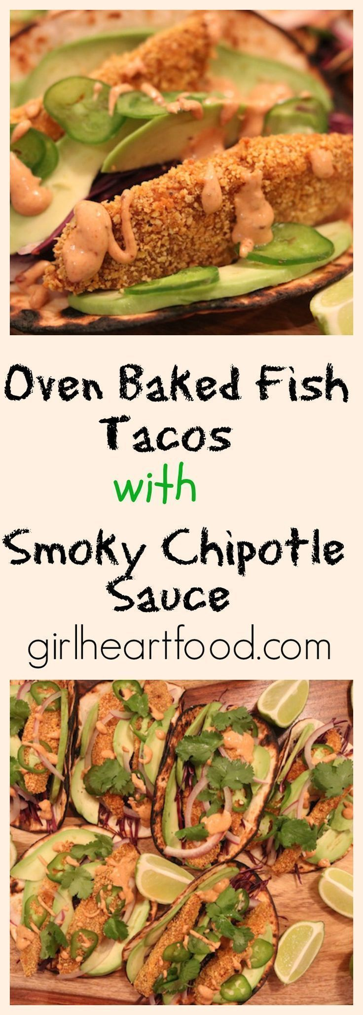 Easy oven baked fish tacos made in under 25 minutes! These are healthy and tasty! - girlheartfood.com