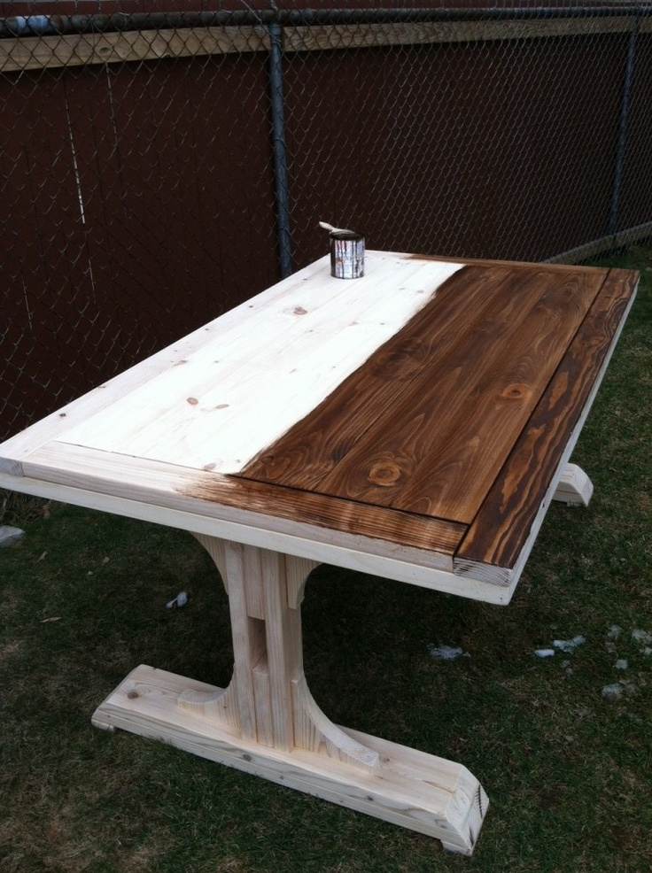 Diy Farmhouse Table Staining And Building Via Www