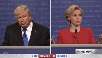 "He then preceded — just as Trump did in the real thing — to repeatedly chime into Clinton's statements with occasional one-liner commentary. | The ""SNL"" Premiere Pretty Much Summed Up The First Presidential Debate - BuzzFeed News"
