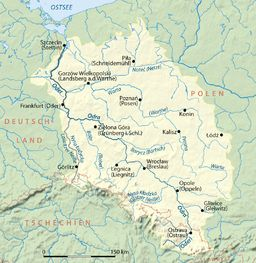 The Oder (German: Oder [ˈoːdɐ]; Czech/Polish: Odra) is a river in Central Europe. It rises in the Czech Republic and flows through western Poland, later forming 187 kilometres (116 mi) of the border between Poland and Germany, part of the Oder-Neisse line. The river ultimately flows into the Szczecin Lagoon north of Szczecin and then into three branches (the Dziwna, Świna and Peene) that empty into the Gulf of Pomerania of the Baltic Sea.