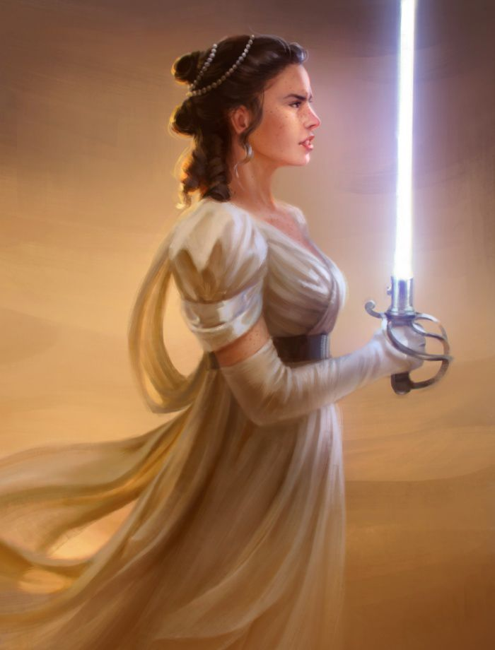 When you watched Star Wars: The Force Awakens for the first time, did you find yourself wishing the main characters were in Regency era attire? No? I can't say that it crossed my mind either, but luckily for all of us, Mer imagined a different world. The artist--who goes by The Real McGee on Tumblr--took Kylo Ren, Rey, Finn, and Poe Dameron and played the best game of dress up ever. Mer's designs add an air of elegance to the story, and now I'm dying for someone to write a Jane Austen-esque…
