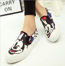 Primavera Otoño Nuevo Blanco Gris Color Lona de Las Mujeres Zapatos de Plataforma de Impresión de la Historieta de Mickey Zapatos de Mujer de Las Señoras Ocasionales Planos Mocasines(China (Mainland))