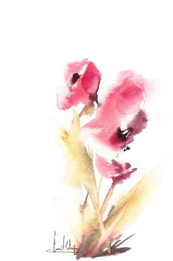 Abstract Floral Painting Original Watercolor Painting by CanotStop