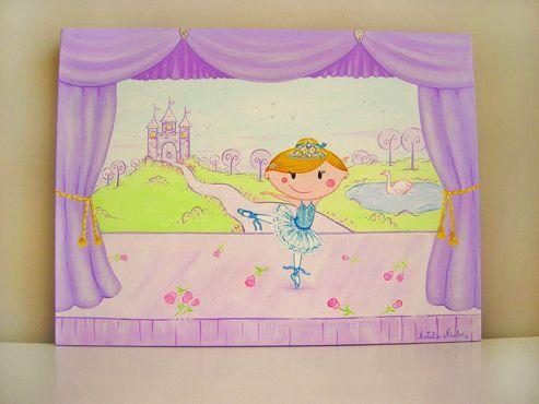 Cuadro infantil personalizado. Temática Bailarina 2. 30 x 40 cm. $50 euros
