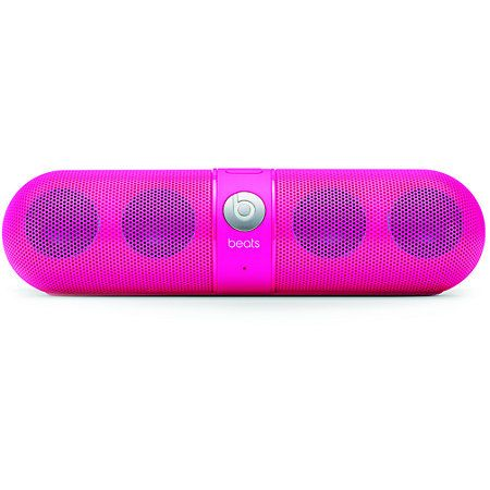 The Limited Edition Beats By Dre Beats Pill is a portable wireless speaker system in the neon Pink colorway that lets you take the party anywhere you go. This compact speaker system has Bluetooth capabilities, pairing with any enabled device so you can change tracks, answer calls, and tell everyone where the party's heading with the built in microphone. Four booming speakers bust out big tunes for 7 hours of portable listening. The Neon Pink Pill Bluetooth speakers from Beats By Dre are just…