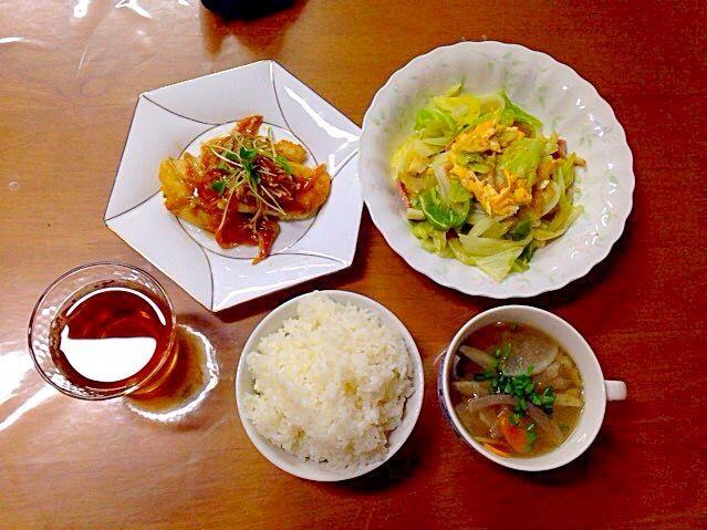 2.015.02.15 夕食 - 6件のもぐもぐ - カレイあんかけ、キャベツ卵の中華炒め、ごぼうの味噌汁 by Chiena Kawamitsu