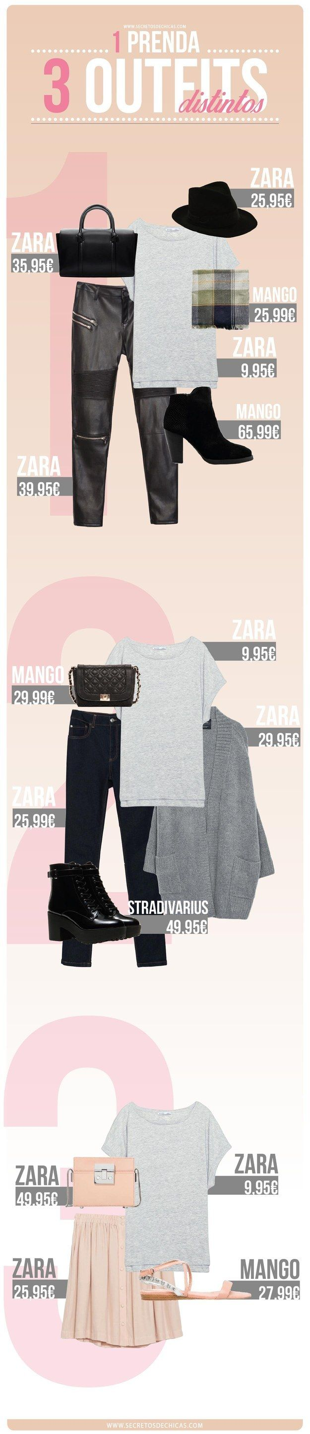 Y si las camisas blancas no son de tu gusto, aquí hay unas opciones para combinar una playera gris. | 18 Guías visuales de estilo que toda mujer necesita en su vida