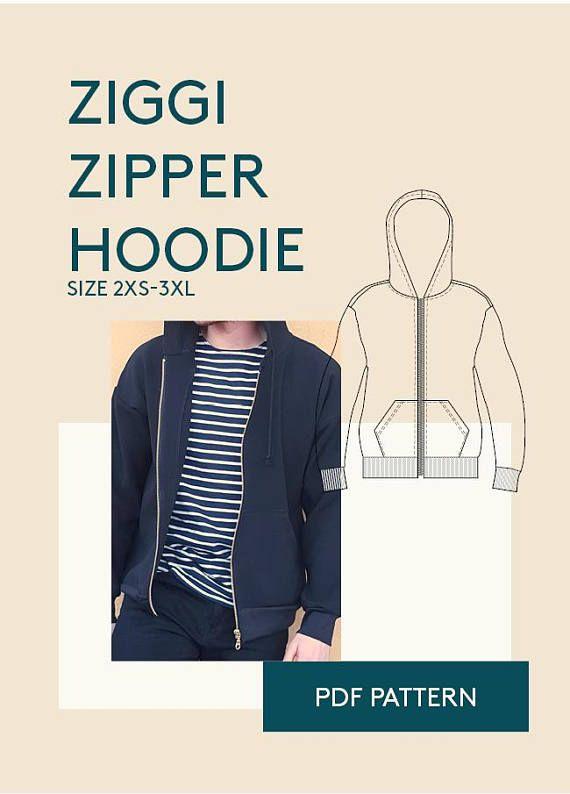 hoodie sewing pattern|Mens hoodie pattern PDF|zipper jacket PDF ...
