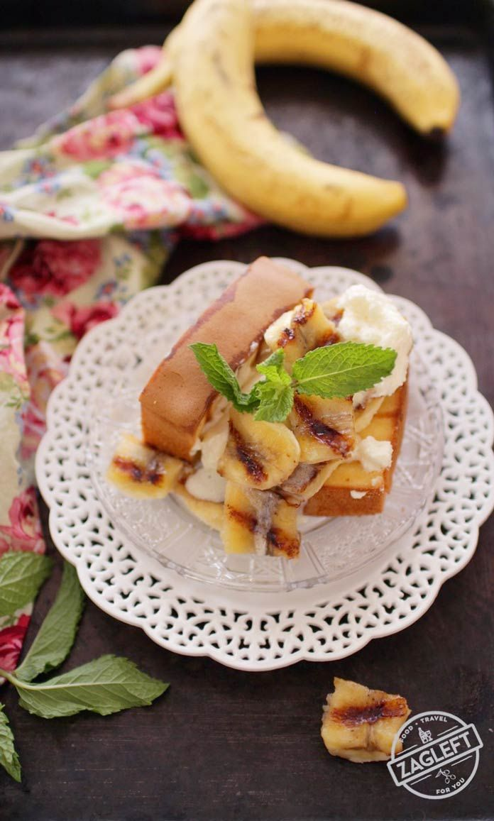 Grilled Pound Cake With Limoncello Bananas For One topped with Mascarpone Cream, an easy dessert recipe made almost completely on the grill.