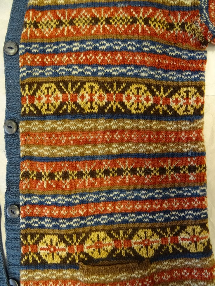 1900's vintage Fair Isle jumper. Natural plant dyes. From the Shetland Museum archives.