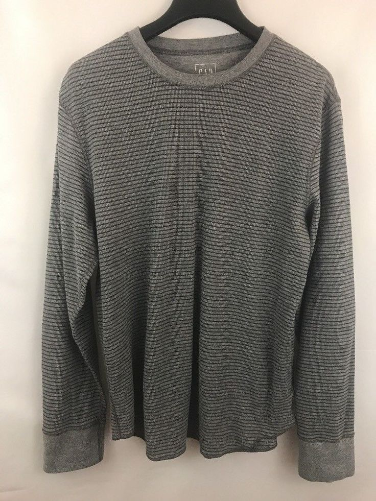 Gap Mens Thermal Shirt Sz L Gray Long Sleeve Crew Neck  | eBay
