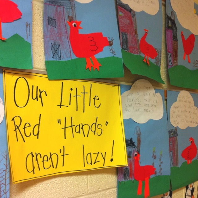 "Little Red Hen- character setting problem solution. They draw setting and add little red ""hand"" and write about problem and how would they solve it on the clouds."