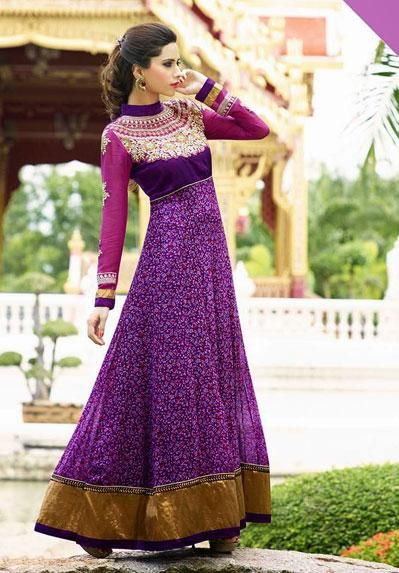 USD 78.13 Magenta Faux Georgette Ankle Length Anarkali Suit 37059